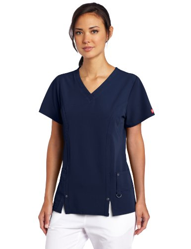 Nursing Uniform (Dickies Scrubs Women's Xtreme Stretch Junior Fit V-Neck Shirt, Navy,)