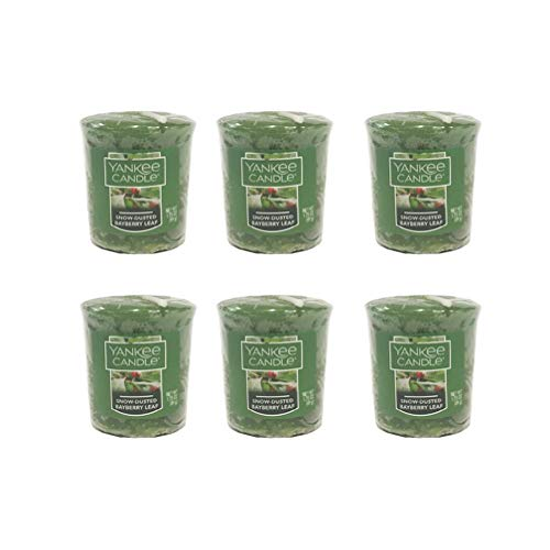 - Yankee Candles Lot og 6 Snow-Dusted Bayberry Leaf Votives