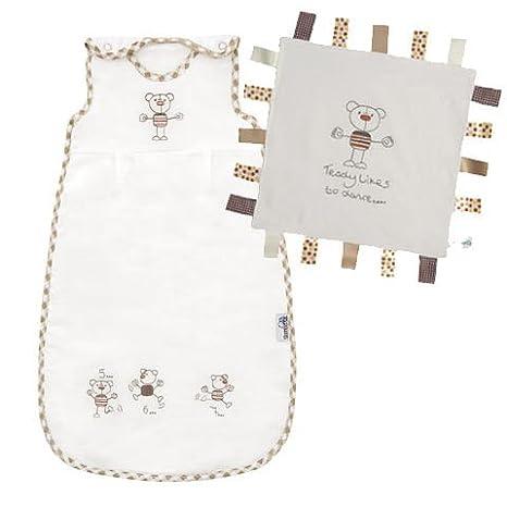 Slumbersac - Saco de dormir para bebés prematuros con diseño de osos (invierno, 3,5 tog, 50 cm, con mantita de seguridad), colo blanco: Amazon.es: Bebé