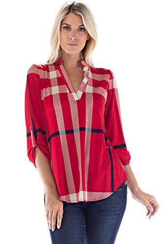 Allora Betsy Red Couture Women and Plus Size Notch Neck Tunic Top Beaded Print Tunic