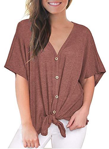 - LuckyMore Women's Plus Size Henley Shirt Short Sleeve Buttons Up Loose Tunic Tops Pink XXL