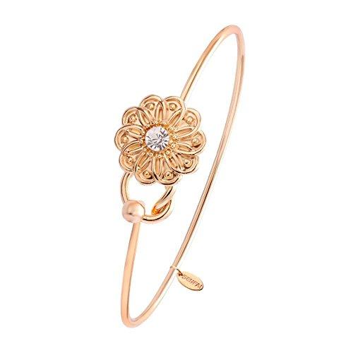 Bangle Daisy - SENFAI New Lovely Tiny 10 Petals Flower One Rhinestone Easy Opening Bangle Bracelet Jewelry Women (Rose gold)
