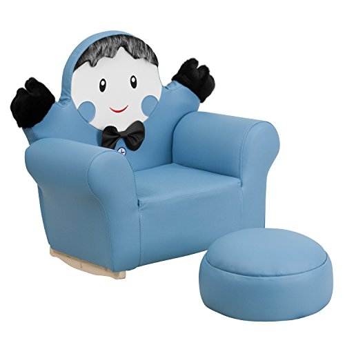 MFO Kids Blue Little Boy Rocker Chair and Footrest by My Friendly Office