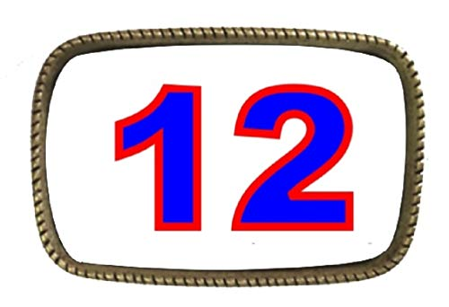 (New England Patriot Pride Number 12 BRASS BELT Buckle Made In The USA)