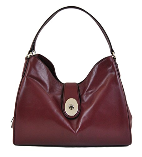Coach Smooth Leather Carlyle Shoulder Bag in Burgundy