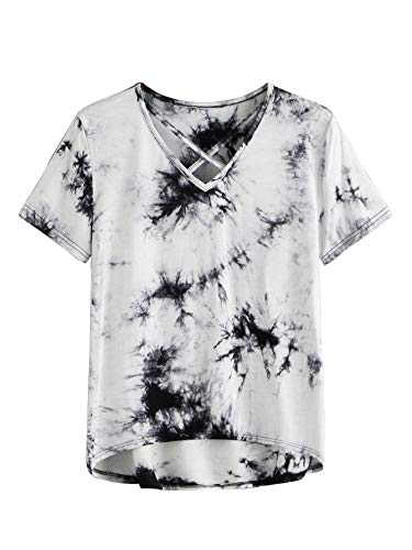 Verdusa Women's Casual V Neck Short Sleeve T-Shirt High Low Tunic Tee Tops Tie Dye S