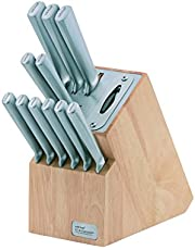 Wiltshire Staysharp Stainless Steel Radius Knife Block, Cook's, Carving, Multi-Purpose, Utility, Paring and 6 Steak Knives, 1 Block with in-Built Sharpener (Colour: Brown), Quantity: 1 Set, 12 Pieces