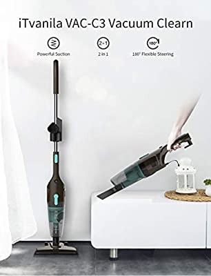 iTvanila Stick Vacuum Cleaner, Ultra-Light Corded Vacuum Cleaners, Stick Handheld 2-in-1 Bagless Vacuum with 15Kpa for Hard Floors Cleaning Pet Hair(White)