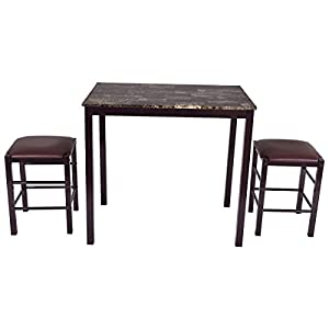 Giantex 3 PCS Counter Height Dining Set Faux Marble Table 2 Chairs Kitchen Bar Furniture