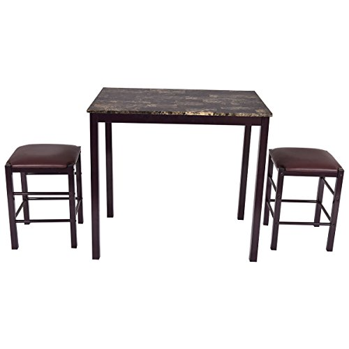 Brown Dining Set (Giantex 3 PCS Counter Height Dining Set Faux Marble Table 2 Chairs Kitchen Bar Furniture (Red)