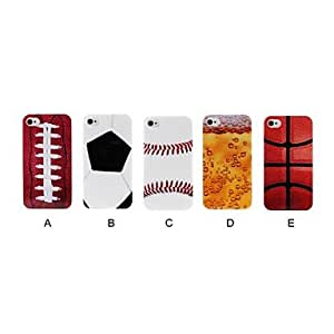 LIMME ships in 48 hours Sports Ball Pattern Plastic Hard Case for iPhone 4/4S , D
