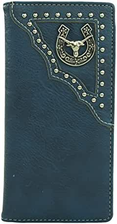 RIDE AWAY Longhorn Head Horseshoe Mens Wallet Western Long Bifold Check Book Style