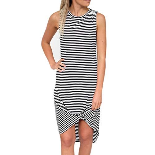 Price comparison product image ANJUNIE Vest Tulip Skirt Women Sleeveless O Neck Striped Casual Slim Fit Dress(White, M)