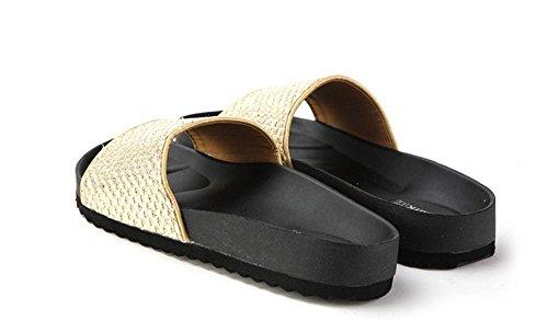 Punto metálico en tacón verano/Chanclas planas/Sandalias de las mujeres ocasionales A