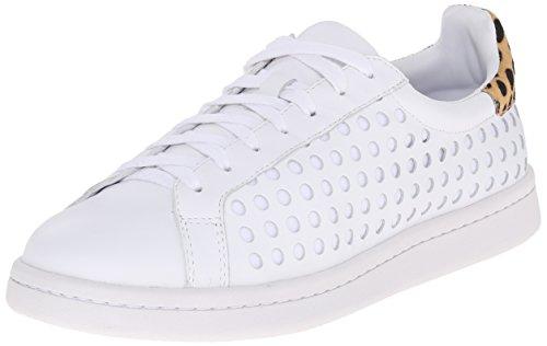 LOEFFLER RANDALL Women's Zora Fashion Sneaker, White/Cheetah, 10 M US