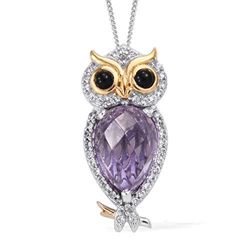 Owl Gold Yellow 14k (Amethyst 14K Yellow Gold Platinum Plated Silver Owl Pendant Necklace Size 20