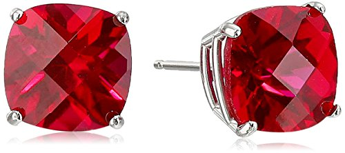 14k White Gold Cushion-Cut Checkerboard Created Ruby Stud Earrings (8mm) (Ruby Cushion Cut)