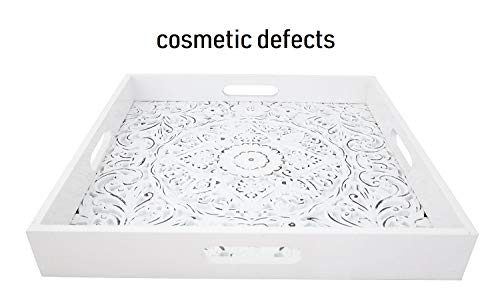 - Lillee Decorative Serving Tray for Ottomans Large Square with Handles - Cosmetic Imperfections - Wooden Serving Trays for Coffee Tables, Display Tray, Parties | Home Decor | 15.75 x 15.75 Inches