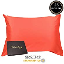100% Silk Pillowcase for Hair Zippered Luxury 25 Momme Mulberry Silk Charmeuse Silk on Both Sides of Cover -Gift Wrapped- (King, Coral)
