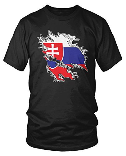 Amdesco Men's Slovakia Flag Tear Through, Rip Out Flag T-Shirt, Black -