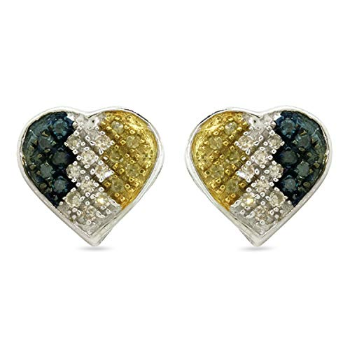 Stud Earrings For Women White Yellow & Blue 0.15 Cttw Round Diamond Micro Pave Set Heart Cluster .925 Sterling Silver