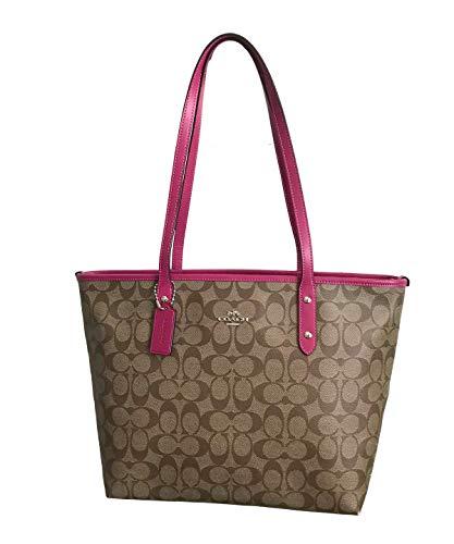Coach Signature City Zip Tote Bag Handbag (Khaki Cerise)