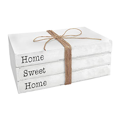 TenXVI Designs Decorative White Books, Set of 3 – Home Sweet Home Stacked Books – Rustic Farmhouse Accent Decor for a…