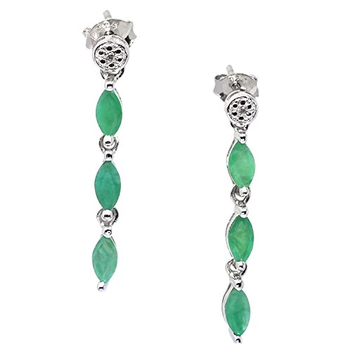 Earrings Silver Emerald Genuine (De Buman Sterling Silver Genuine Emerald and Diamond Earrings (G-H, I1-I2))
