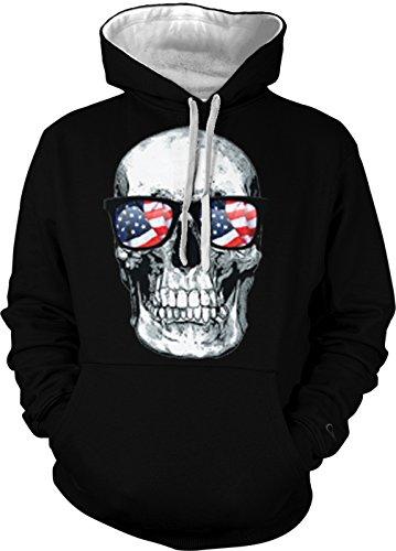 Big White Skull With American Flag Sunglasses Men's 2 Tone Hoodie Sweatshirt (3XL, BLACK / WHITE STRING)
