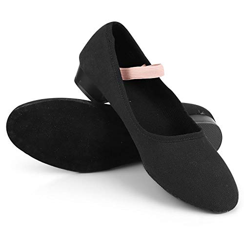 Alomejor 1 Pair Stretch Canvas Black Ballet Dance Shoes Slippers Flats Women Dancing Shoes for Girls in Different Size(38)