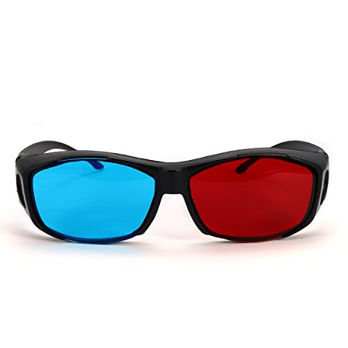 HITSAN Red Blue 3D Glasses Black Frame For Dimensional Anaglyph Movie Game DVD Projector One Piece