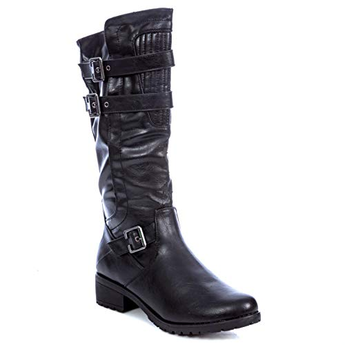 Charles Albert Women's Buckled Rugged Sole Riding Boots in Black Size: 7