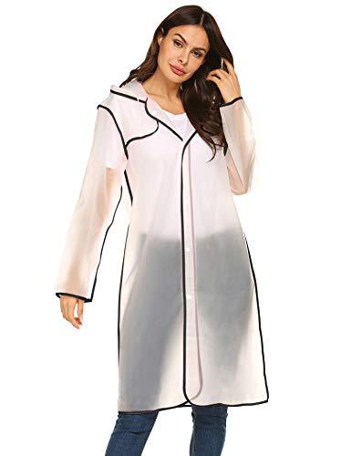 Rain Poncho Waterproof Reusable Adult Rain Coat Jacket with Hoods for Outdoor L (Coat Hood)