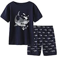 MyFav Big Boys Pajamas 2 Piece Short PJS Cute Cartoon Shark Sleepwear 6-14 Years