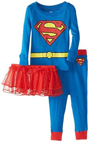[DC Comics Baby Girls' Supergirl 3 Piece Pajama Set with Tutu (18 Months)] (Toddler Supergirl Tutu Set)