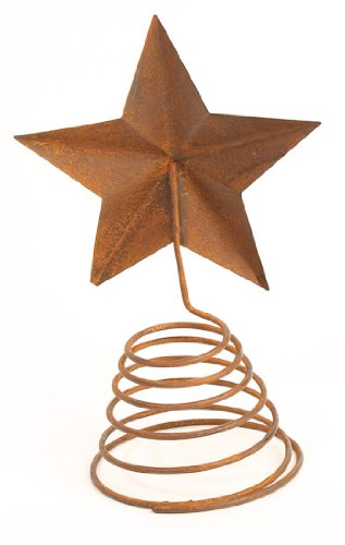 Rusty Tin Star Tree Topper with Coil Spring Base for Topping Trees, Home Decor and Decorating by Rustic Accents