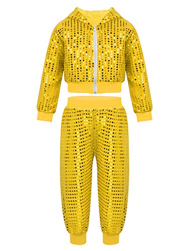 iEFiEL Girls Boy's Hip-hop Jazz Performance Costume Street Dance Outfits Sequins Jacket Coat Hooded Tops Pants Set Yellow 10-12