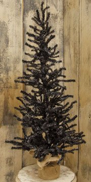 Black Needle Pine Tree Burlap Base 3' Country Primitive Fall Harvest Holiday Décor