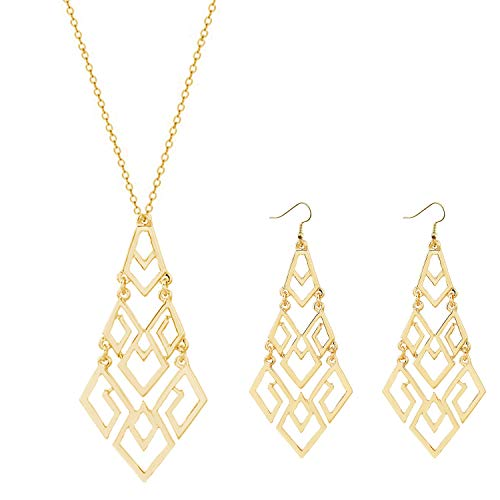 Dcfywl731 Fashion Three Triangle Arrow Long Chain Pendant Necklace for Women Metal Geometric Sweater Necklace Punk Jewelry (C-a:Chandelier Necklace+Earrings)