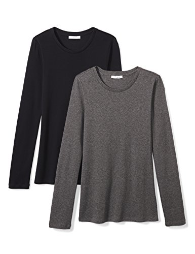(Amazon Brand - Daily Ritual Women's Midweight 100% Supima Cotton Rib Knit Long-Sleeve Crew Neck T-Shirt, 2-Pack, Charcoal Heather Grey/Navy, Medium)