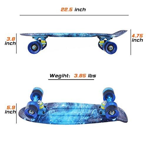 a54fd08ed32 MEKETEC Skateboards Complete Mini Cruiser Retro Skateboard for Kids Boys  Youths Beginners 22 Inch(The