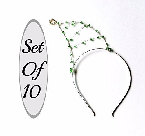 Set Of 10 Christmas Headbands, Party Pack Of Ten Green Beaded Elf Hat Hair Bands, Elves Hats For Christmas Parties, Photo Booths & More by Scarlet Tiaras