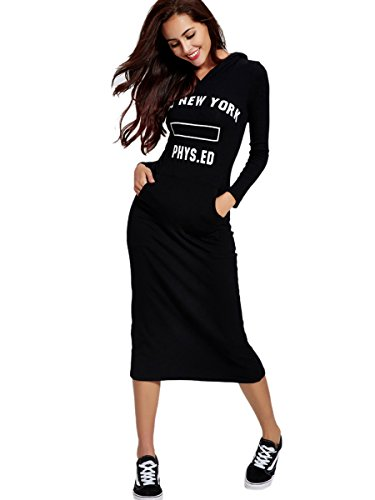 Dressray Womens Long Sleeve Round Neck Mid-Calf Hoodie Dress - Large - - Embroidered Romper Jersey