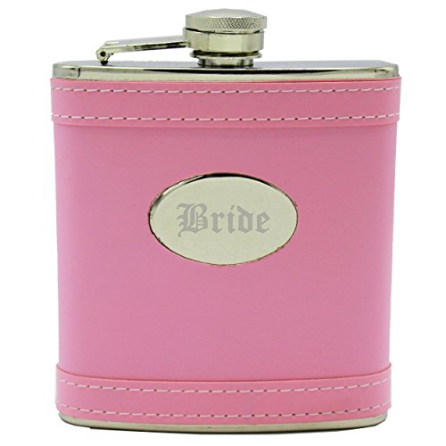 - Personalized Pink Flask - Bridesmaid Gift, Bachelorette Party Hip Flask - Custom Engraved Monogrammed for Free