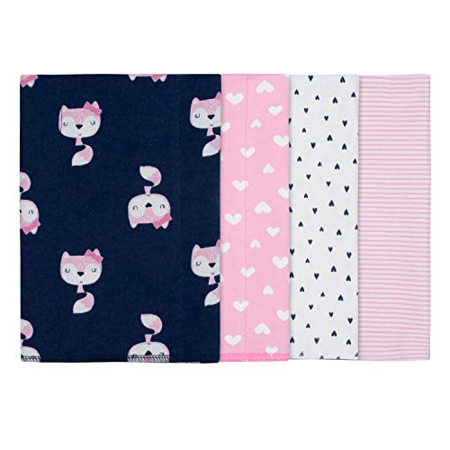 Gerber Baby Girls' 4-Pack Flannel Burp Cloth, Fox, 20