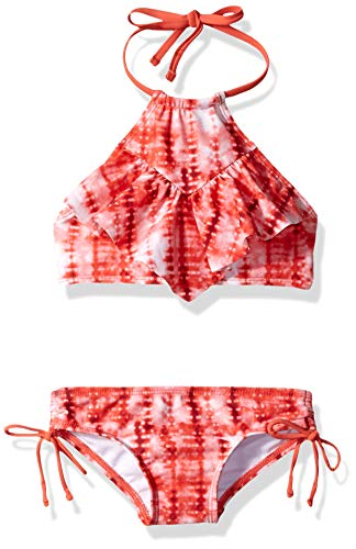 Kanu Surf Big Girls' Morgan Ruffle Halter Bikini 2-Piece Swimsuit, Pink, 2T, Willow Red Tie-Dye, 10 ()