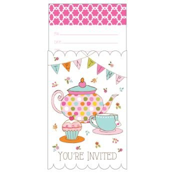 Tea Invitations Girls Party (Creative Converting 895673 Party Supplies, Any, Multicolor)