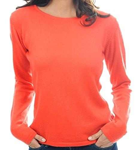 Balldiri 100% Cashmere Kaschmir Damen Pullover Rundhals 2-fädig orange L