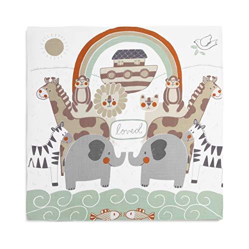 DEMDACO Noah's Ark Rainbow 47 x 47 Muslin Fabric Nursery Photo Swaddling Blanket