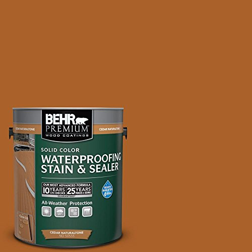 (BEHR Premium 1-Gal. Cedar Naturaltone Weatherproofing Solid Color Wood Stain)